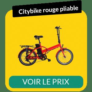 Velo electrique pliable citybike rouge